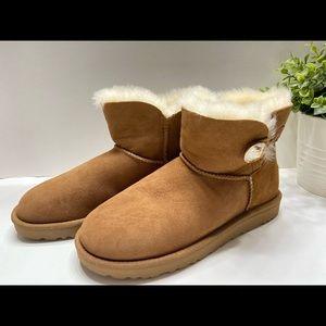 NEW UGG Mini Bailey Button Swarovski Bling Women's Winter Boots 1016554 Tan 8
